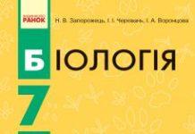 Скачати  Біологія  7           Запорожець Н.В. Черевань І.І. Воронцова І.А.     Підручники Україна