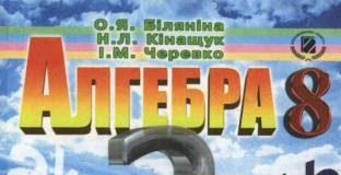 Скачати  Алгебра  8           Біляніна О.Я. Кінащук H.Л. Черевко І.М.     Підручники Україна