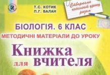 Скачати  Біологія  6           Котик Т.С. Балан П.Г.      Підручники Україна